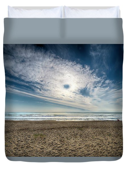 Duvet Cover featuring the photograph Beach Sand With Clouds - Spiagggia Di Sabbia Con Nuvole by Enrico Pelos