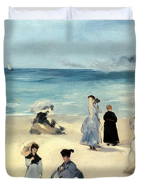 Beach Scene Duvet Cover by Edouard Manet