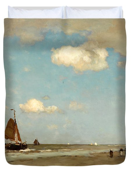 Duvet Cover featuring the painting Beach Scene by Jan Hendrik Weissenbruch