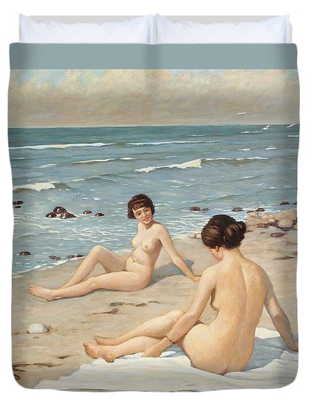 Beach Scenery With Bathing Women Duvet Cover by Paul Fischer