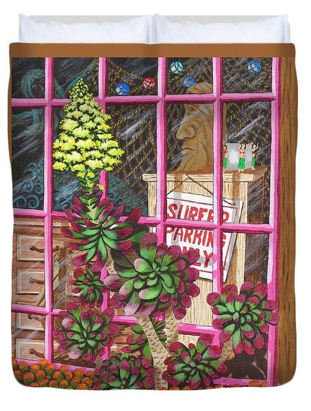Duvet Cover featuring the painting Beach Side Storefront Window by Katherine Young-Beck
