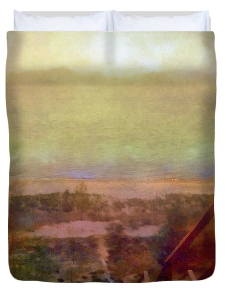 Duvet Cover featuring the digital art Beach Stairs With Hazy Sky by Michelle Calkins