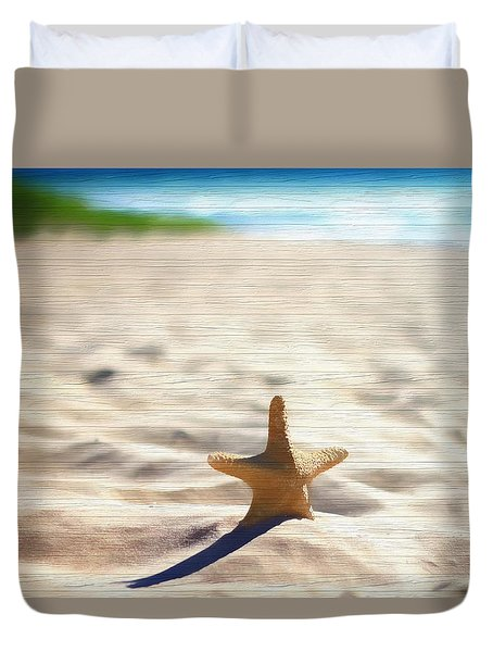Beach Starfish Wood Texture Duvet Cover by Dan Sproul