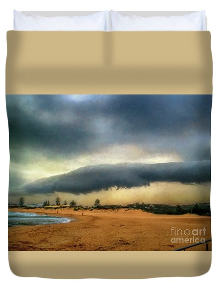 Duvet Cover featuring the photograph Beach Storm At Sunset By Kaye Menner by Kaye Menner