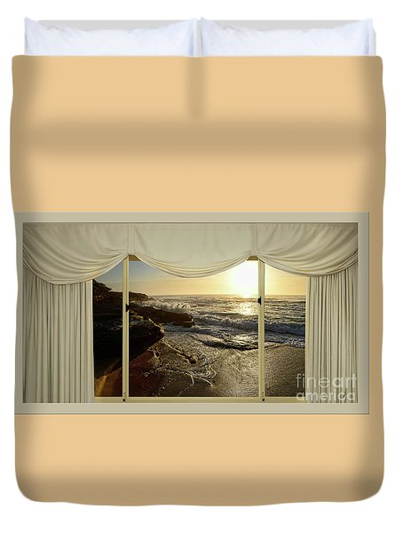 Beach Sunrise From Your Home Or Office By Kaye Menner Duvet Cover by Kaye Menner