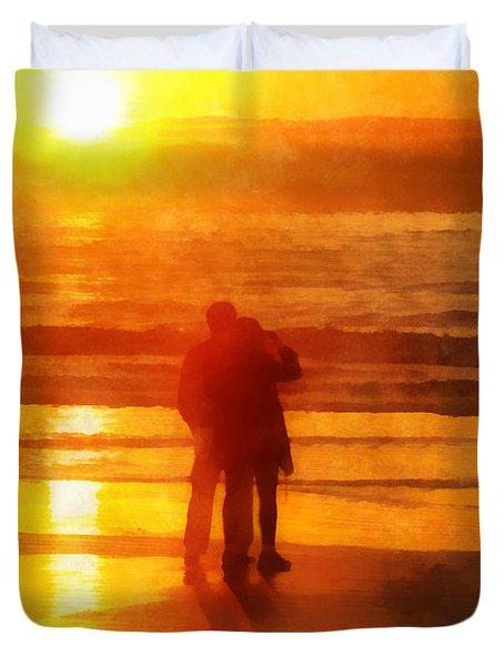 Beach Sunrise Love Duvet Cover by Francesa Miller