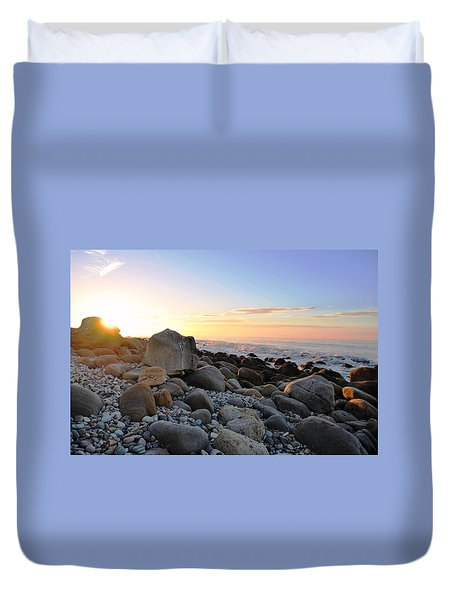 Beach Sunrise Over Rocks Duvet Cover