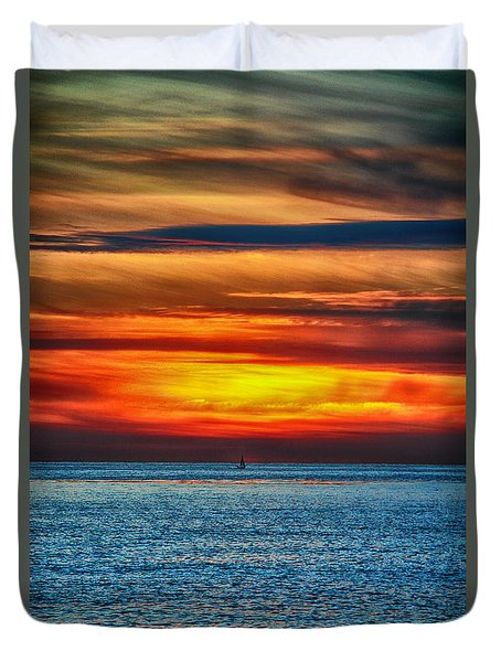 Duvet Cover featuring the photograph Beach Sunset And Boat by Mariola Bitner