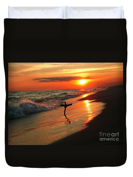 Beach Sunset And Cross Duvet Cover