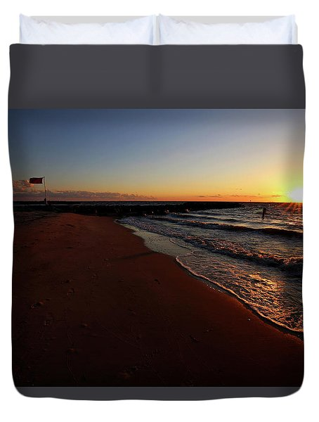 Beach Sunset At The Grand Hotel Duvet Cover by Judy Vincent