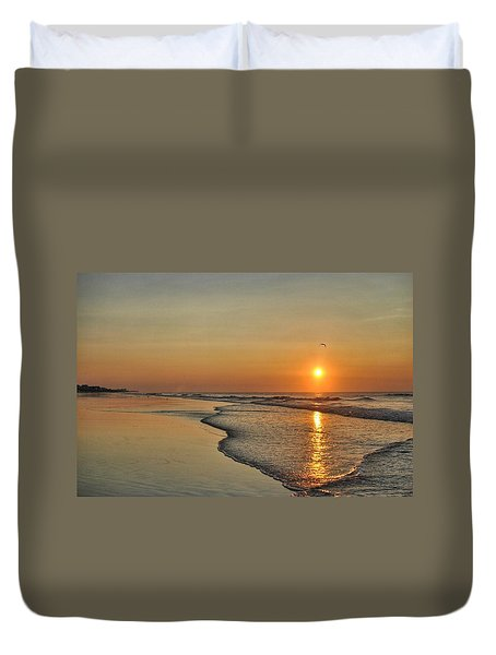 Topsail Nc Beach Sunrise Duvet Cover