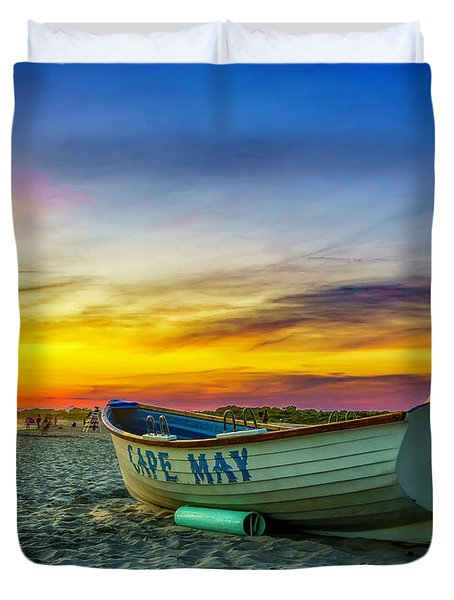 Beach Sunset In Cape May Duvet Cover