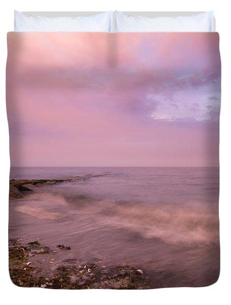 Beach Sunset In Connecticut Landscape Duvet Cover