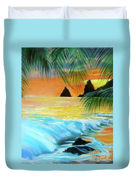 Beach Sunset Duvet Cover by Jenny Lee