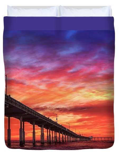 Beach Sunset Ocean Wall Art San Diego Artwork Duvet Cover