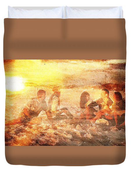 Beach Sunset With Friends Duvet Cover