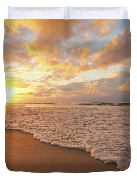 Beach Sunset With Golden Clouds Duvet Cover