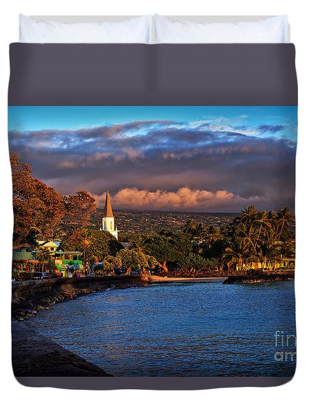 Beach Town Of Kailua-kona On The Big Island Of Hawaii Duvet Cover