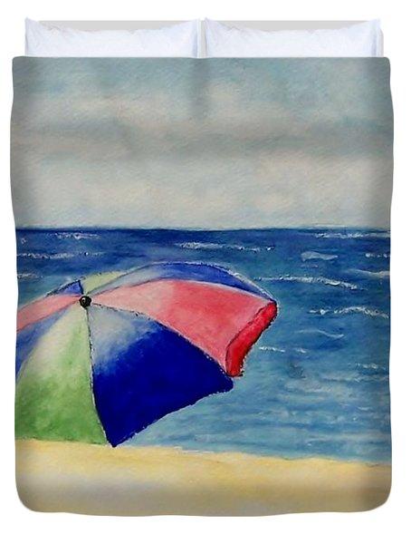 Beach Umbrella Duvet Cover by Jamie Frier