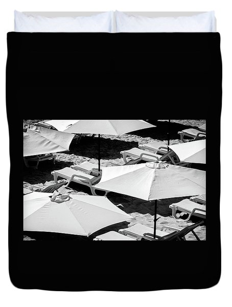 Duvet Cover featuring the photograph Beach Umbrellas by Marion McCristall