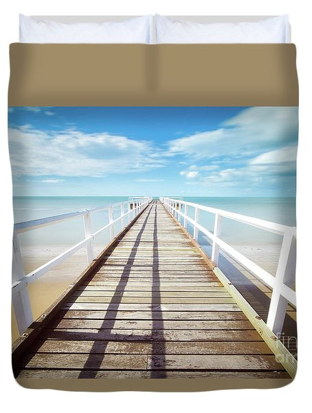 Duvet Cover featuring the photograph Beach Walk by MGL Meiklejohn Graphics Licensing