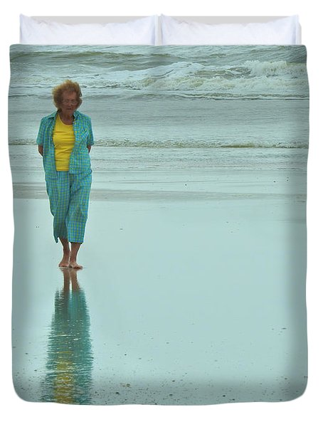 Beach Walkin' Duvet Cover by Laura Ragland