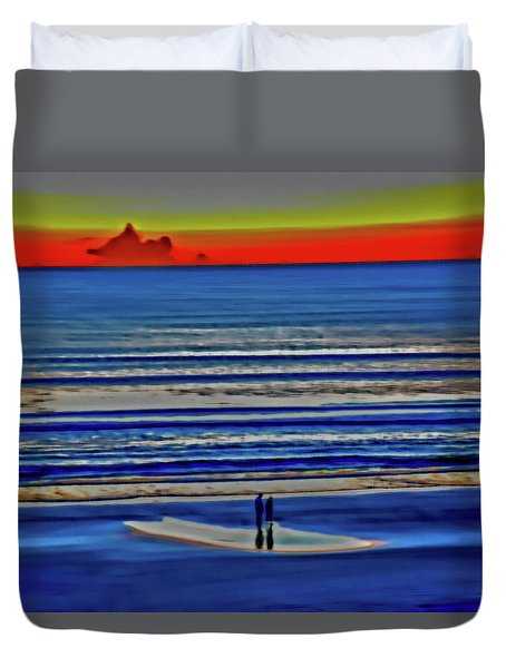 Beach Walking At Sunrise Duvet Cover