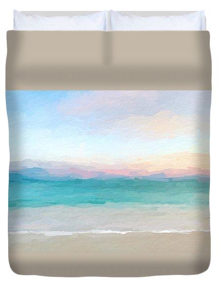 Beach Watercolor Sunrise Duvet Cover