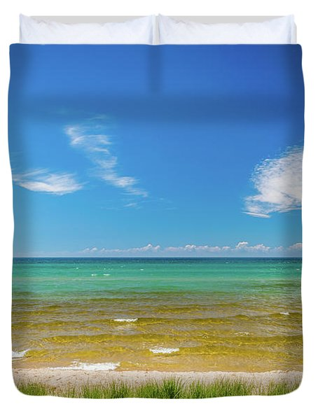 Beach With Blue Skies And Cloud Duvet Cover