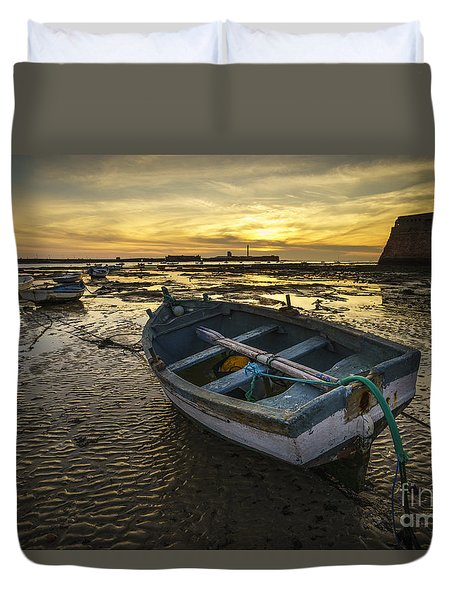 Beached Boat On La Caleta Cadiz Spain Duvet Cover