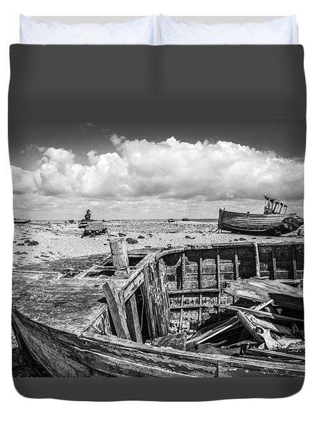 Duvet Cover featuring the photograph Beached Boats. by Gary Gillette