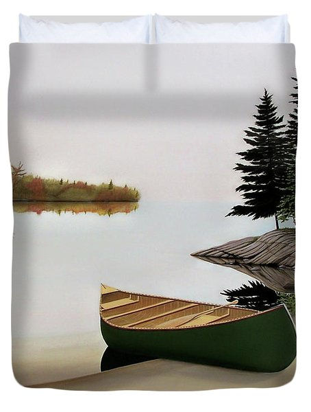 Beached Canoe In Muskoka Duvet Cover