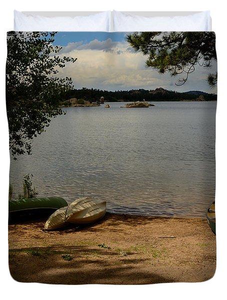 Beached Canoe Duvet Cover