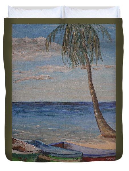 Duvet Cover featuring the painting Beached by Debbie Baker