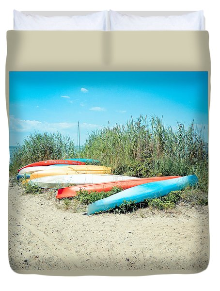 Beached Kayaks Duvet Cover