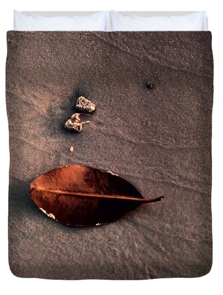 Duvet Cover featuring the photograph Beached Leaf by Brent L Ander