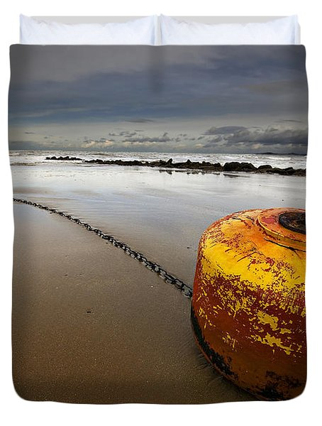 Beached Mooring Buoy Duvet Cover