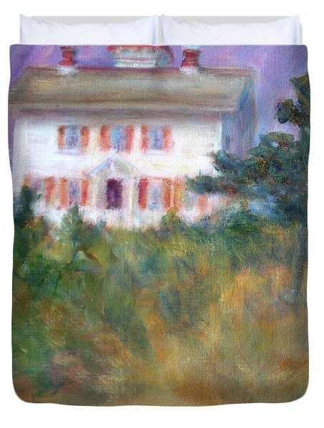 Beacon On The Hill - Lighthouse Painting Duvet Cover