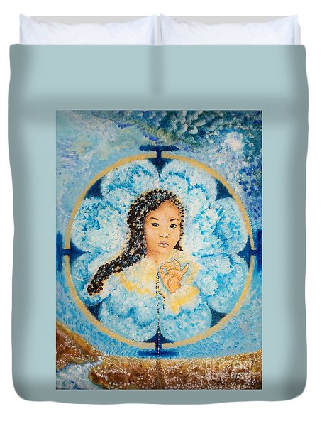 Flying Lamb Productions.        Beads Of Life Duvet Cover