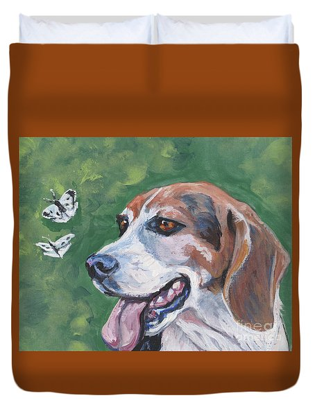 Duvet Cover featuring the painting Beagle And Butterflies by Lee Ann Shepard