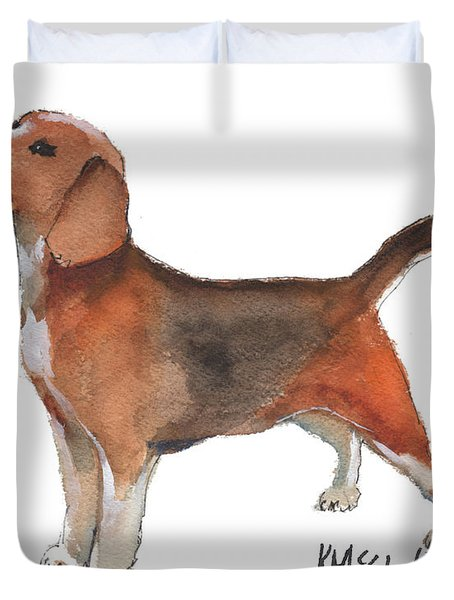 Beagle Watercolor Painting By Kmcelwaine Duvet Cover