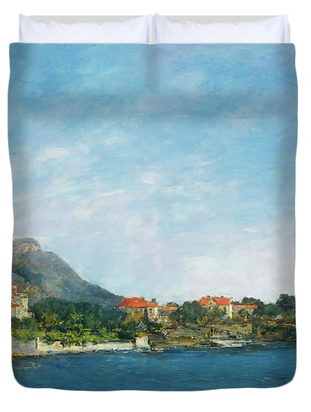 Duvet Cover featuring the painting Bealieu - The Bay Of Fourmis by Eugene Boudin