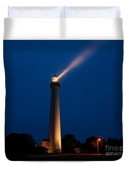 Duvet Cover featuring the photograph Beam Of Light At Cape May by Nick Zelinsky