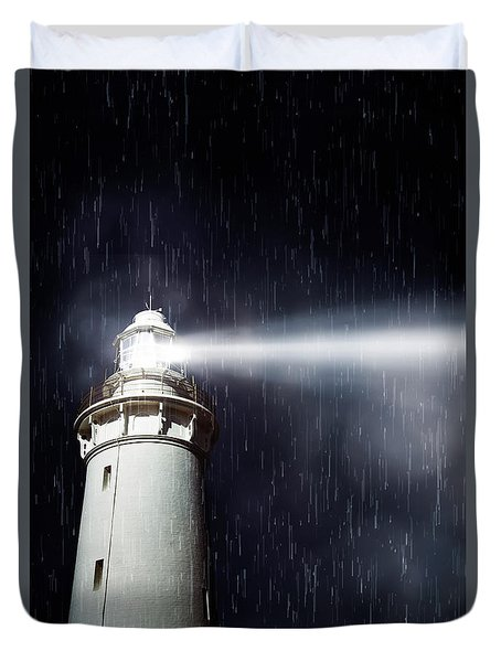 Beaming Lighthouse Duvet Cover
