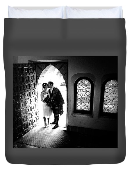 Beaming Newlyweds Duvet Cover
