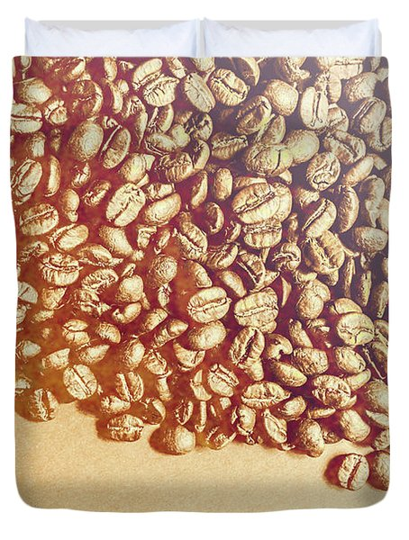 Bean Background With Coffee Space Duvet Cover