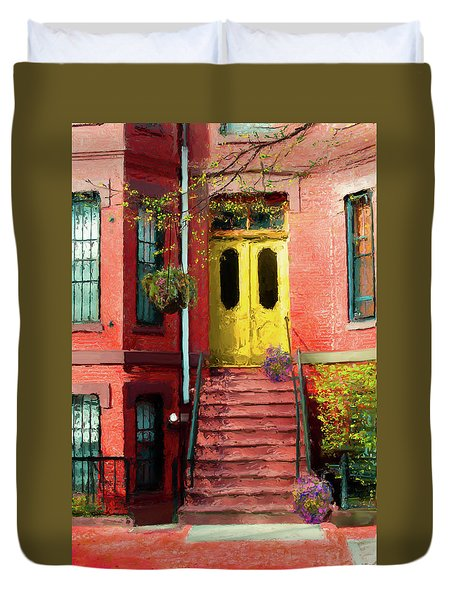 Beantown Brownstone With Yellow Doors Duvet Cover
