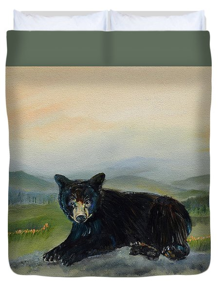 Bear Alone On Blue Ridge Mountain Duvet Cover