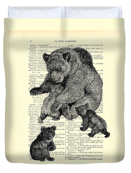 Bear And Cubs Black And White Antique Illustration Duvet Cover