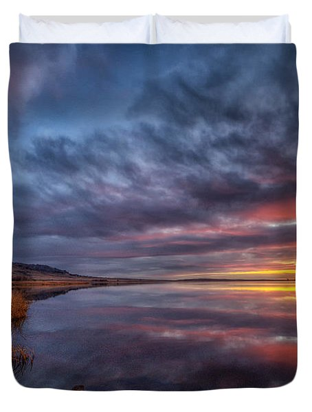 Bear Butte Lake Sunrise Duvet Cover
